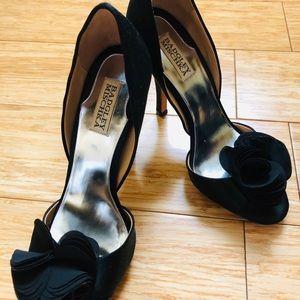 Badgley Mischka | Black Satin Ruffle Peep Toe Heel